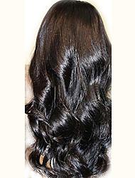 "Unprocessed 10""-24"" Peruvian Virgin Hair Natural Black Wavy 130% Density Full Lace Wig Natural Wave"
