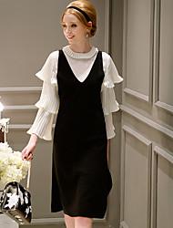 casual / jour vintage / simples / sophistiqué ligne robe de dabuwawa femmes, solide v cou midi sans manches