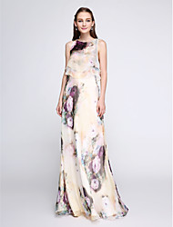 Sheath / Column Jewel Neck Floor Length Chiffon Bridesmaid Dress with Pattern / Print by LAN TING BRIDE®