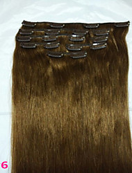 "18""#6 Clip In Real  Human Hair Extensions 8Pcs/80g"