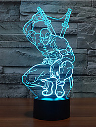 economico -deadpool touch dimming 3d led night light 7colorful decorazione atmosfera lampada novità luce di illuminazione