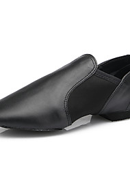 cheap -Women's Jazz Shoes Leather Flat Indoor / Professional Flat Heel Customizable Dance Shoes Black