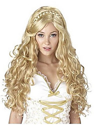 cheap -Fashion Capless Long Wave Blonde Color with Braid Cosplay Synthetic Wigs for Europen and American Ladies