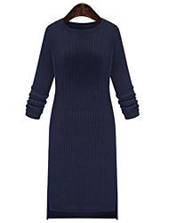 Moulante Robe Femme Grandes Tailles Chic de Rue,Couleur Pleine Col Arrondi Au dessus du genou Manches Longues Bleu Noir Polyester