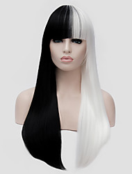 cheap -White and black Wig long straight hair with Bang and the wind night club performances Street Party Costume wigs