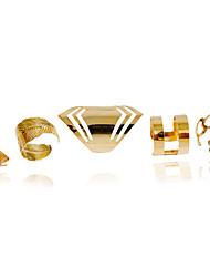 Anéis Fashion Casamento / Pesta / Diário / Casual Jóias Liga Feminino Anéis Meio Dedo / Anéis Grossos 1conjunto,Ajustável Dourado