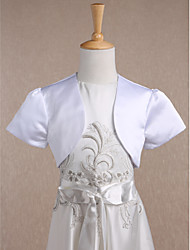 cheap -Short Sleeves Satin Wedding Party Evening Kids' Wraps With Draping Shrugs