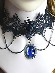 cheap -Gothic Fashion Vintage Black Lace Crystal Blue Gem Pendant Necklace Jewelry Women Sexy Accessories