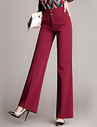 cheap -Women's High Rise Micro-elastic Business Pants,Street chic Solid Lace Cotton All Seasons