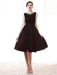 cheap -A-Line Jewel Neck Knee Length Lace Cocktail Party Dress with Crystals by