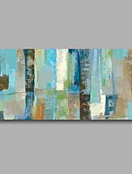 cheap -Stretched (Ready to hang) Hand-Painted Oil Painting 100cmx50cm Canvas Wall Art Modern Abstract Light Blue