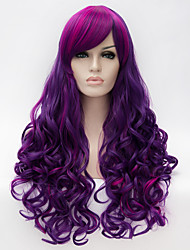 cheap -Synthetic Wig Curly Wavy Natural Wave With Bangs Side Part Highlighted/Balayage Hair Purple Women's Capless Carnival Wig Halloween Wig