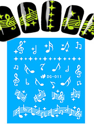 1pcs Nail Art Water Transfer Noctilucent Sticker Music Note Decoration Nail Beauty DG-011