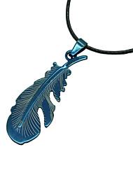 Neuer Entwurf einfache schwarze lederne Kettenfederform Legierungs-hängende Halskette collares Frauenmänner beiläufige Schmucksachen