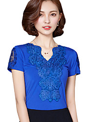 cheap -Summer Daily/Plus Size Women's Tops Lace V Neck Splicing Short Sleeve Slim Blouse Shirt