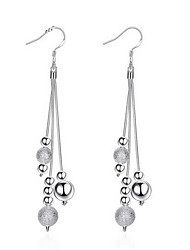 cheap -Personality OL Fine S925 Silver Simplicity Bead Ball Tassel Drop Earrings for Women Wedding Party Jewelry