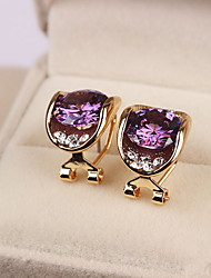 Women's Stud Earrings Crystal Fashion Costume Jewelry Sterling Silver Zircon Cubic Zirconia Oval Jewelry For Daily Casual