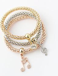 Bracelet Wrap Bracelet Alloy Round Double-layer / Fashion Wedding / Party Jewelry Gift Gold,1set