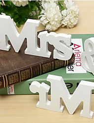 cheap -Tinksky Mr and Mrs Sign Wooden Letters Wedding Decoration Wedding Present (White)