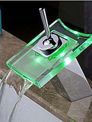 Moderno Lavabo Cascata Touch/Non touch Con LED with  Valvola in ottone Una manopola Un foro for  Cromo , Rubinetto vasca Rubinetto da