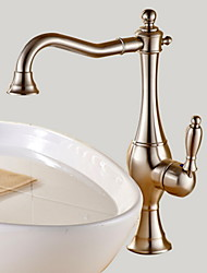 cheap -Vessel Single Handle One Hole in Nickel Brushed Bathroom Sink Faucet