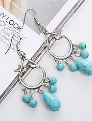 Bohemian Ethnic Jewelry Tibetan Silver Dangle Earrings Vintage Boho Birds Turquoise Drop Earrings For Women
