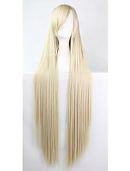 abordables -Perruque Synthétique Droit Coupe Asymétrique Cheveux Synthétiques Ligne de Cheveux Naturelle Blond Perruque Femme Long Sans bonnet
