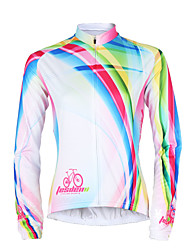 TASDAN Cycling Jersey Women's Long Sleeves Bike Jersey Tops Quick Dry Ultraviolet Resistant Breathable Sweat-wicking 100% Polyester Stripe