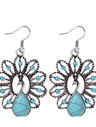 cheap -Bohemia Ethnic Style Women Vintage Jewelry Tibetan Silver Turquoise Rhinestone Peacock Shape Dangle Earrings