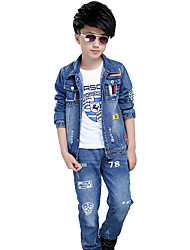 cheap -Boy's Cotton Spring/Autumn Fashion Print Long Sleeve Denim Jacket Coat And Jeans Pants Two-piece Set