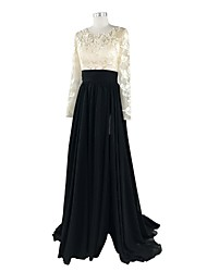 A-Line Jewel Neck Court Train Chiffon Lace Formal Evening Dress with Appliques Lace by Nameilisha