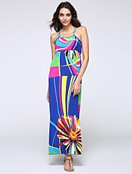 Недорогие -SWEET кривой женщин пляж плюс размер одежды, печать ремешок миди без рукавов многоцветной акриловые лето