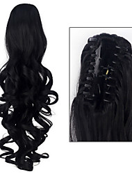 cheap -excellent quality synthetic 20 inch 180g long curly claw jaw clip on ponytail hairpiece extensions