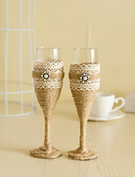 cheap -Wedding Accessories with Jute Pearl Sparkling Love Bride Groom Twisted Champagne Glasses Toasting Flutes, Set of 2