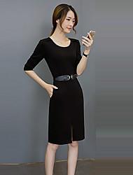 preiswerte -Damen Bodycon Kleid-Arbeit Retro Solide Rundhalsausschnitt Knielang ½ Länge Ärmel Rot / Lila Polyester Herbst