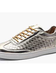 Недорогие -Черный Белый Золотистый-Мужской-Повседневный Для занятий спортом-Лакированная кожа-На плоской подошве-Удобная обувь-Кеды
