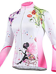 cheap -TVSSS Cycling Jersey Women's Long Sleeves Bike Top Front Zipper Wearable Breathable Ultra Light Fabric Coolmax LYCRA® Terylene Patchwork