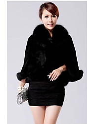 Cappotto di pelliccia Da donna Casual Inverno Semplice,Tinta unita Colletto alla coreana Pelliccia sintetica Bianco / Nero Manica lunga