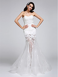 cheap -Mermaid / Trumpet Sweetheart Floor Length Corded Lace Custom Wedding Dresses with Lace Flower by LAN TING BRIDE®