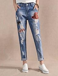 preiswerte -Damen Freizeit Mittlere Hüfthöhe Unelastisch Haremshosen Jeans Hose, Polyester Ganzjährig
