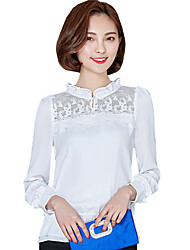 cheap -Spring/Fall Daily Women's Tops Solid Color Lace Stand Collar Long Sleeve Chiffon Blouse Shirt
