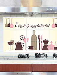 cheap -Oil-Proof Red Wine Glass Kitchen Wall Stickers Fashion Removable Kitchen Wall Decals