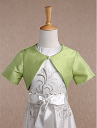 Short Sleeves Taffeta Wedding Party Evening Kids' Wraps With Button Shrugs