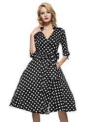 cheap -Maggie Tang Women's 50s VTG Retro Rockabilly Hepburn Pinup Swing Wrap Dress Parka 560