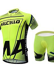 economico -Malciklo Maglia con pantaloncini da ciclismo Per uomo Manica corta Bicicletta Set di vestiti Asciugatura rapida Zip anteriore Indossabile