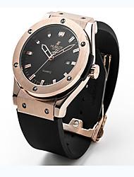 Недорогие -Жен. Для пары Универсальные Модные часы Наручные часы Кварцевый Pезина Черный 30 m / Аналоговый На каждый день - Черный Серебряный Розовое золото