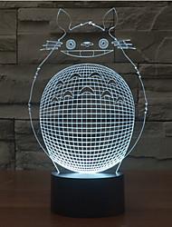 Недорогие -ближний totoro сенсорный затемнение 3d светодиодный свет ночи 7colorful украшение атмосфера лампа новинка освещение свет