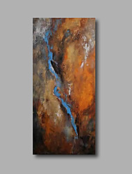 "cheap -Stretched (Ready to hang) Hand-Painted Oil Painting 40""x20"" Canvas Wall Art Modern Abstract Brown Blue"