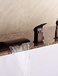 Недорогие -Смеситель для ванны - Античный / Ар деко / Ретро / Modern Начищенная бронза Римская ванна Керамический клапан Bath Shower Mixer Taps / Латунь / Одной ручкой три отверстия