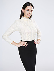cheap -Women's Daily Casual Spring Blouse,Solid Stand Long Sleeves Cotton Spandex Opaque